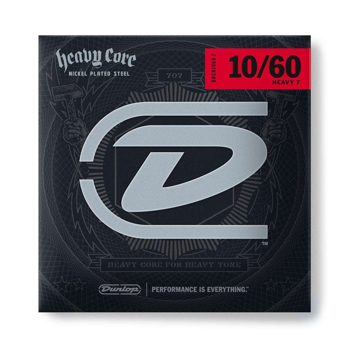 DHCN1060-7 Heavy Core Комплект струн для 7-струнной электрогитары, никелированные, 10-60, Dunlop